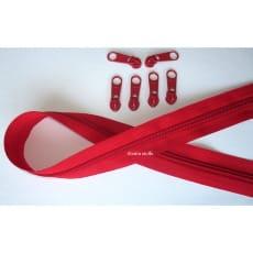 Endlos Reißverschluss rot, Set 2m + 6 Zipper