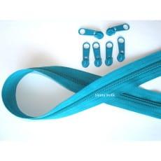 Endlos Reißverschluss türkis, Set 2m + 6 Zipper