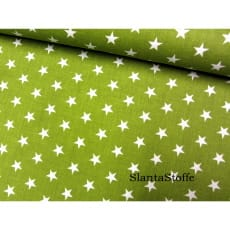 Stoff Sterne, 1cm, olive, 100% Baumwolle