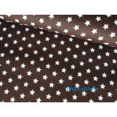 Stoff Sterne, 1cm, dunkelbraun, 100% Baumwolle