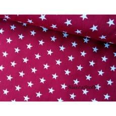 Stoff Sterne, 1cm, bordeaux, 100% Baumwolle