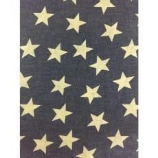Jeansstoff, blau, gelbe Sterne