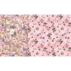 Panel Jersey Stoff Katze Blumen Kinderstoff 1,0 m x 1,50m
