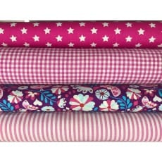 Stoffpaket in pink, 4 Stoffstücke