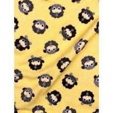 Frottee Stoff Schäfchen gelb/schwarz Breite 170cm ab 50 cm