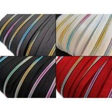 Reißverschluss endlos Spirale Regenbogen 5mm Meterware mit Zipper (2m+6 Zipper)