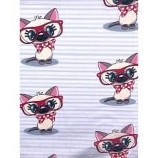 Baumwollstoff Kinderstoff Katze Breite 160cm ab 50 cm