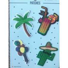 Aufnäher Applikation Patches Cocktail Palme Set 4 Teile