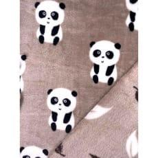 Fleecestoff Panda taupe doppelseitig Breite 150 cm ab 50cm