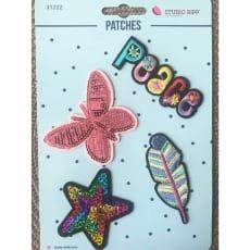 Aufnäher Applikation Patches Schmetterling Set 4 Teile