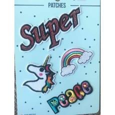 Aufnäher Applikation Patches Super Einhorn Set 4 Teile