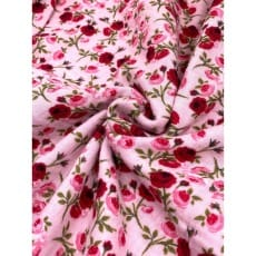 Double Gauze Musselin Stoff Schnuffeltuch Blümchen rosa ab 50cm