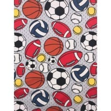 Jersey Stoff Kinderstoff Ball Fußball grau Breite 150 cm ab 50 cm