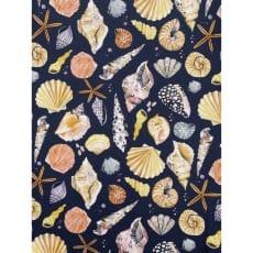 Canvas Digital Stoff Dekostoff Baumwollstoff Maritim Muscheln Breite 135 cm