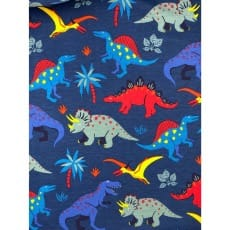 Sweat French Terry Sommersweat Kinderstoff Dino dunkelblau ab 50 cm