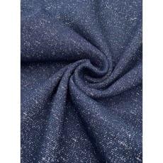 Bündchenstoff im Schlauch uni dunkelblau mit Glitzer Lurex ab 50cm