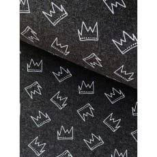 Bündchenstoff Schlauch Meterware Muster Krone anthrazit ab 50cm