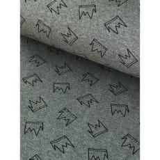 Bündchenstoff Schlauch Meterware Muster Krone hellgrau ab 50cm