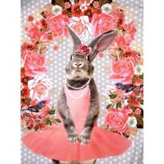 Panel Jersey Stoff Hase Blumen mint Kinderstoff