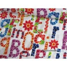 Stoff Blumen, Buchstaben