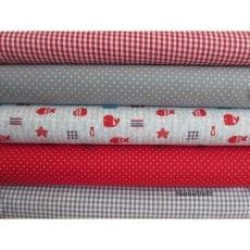 Stoffpaket in grau, rot, 5 Stoffstücke