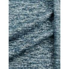 Strickstoff Strickfleece Stoff meliert dunkelblau