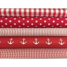 Stoffpaket in rot, 5 Stoffstücke