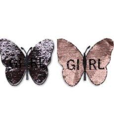 Wendepailletten XL-Patch Aufnäher Applikation Schmetterling Girl