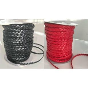 geflochtene Kunstlederband, rot, schwarz, 6mm kaufen