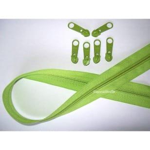 Endlos Reißverschluss grün, Set 2m + 6 Zipper kaufen
