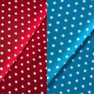 Stoff Sterne 1cm, rot, türkis100% Baumwolle kaufen