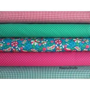 Stoffpaket, Stoffset in pink, grün, 5 Stoffstücke kaufen