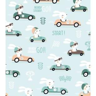 Baumwolle, Kinderstoff Auto Hase kaufen