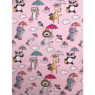 Baumwolle Kinderstoff Tierchen Löwe Giraffe rosa Breite 150cm kaufen