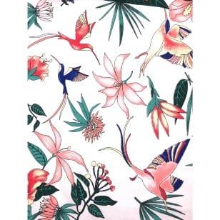 Baumwollstoff Dekostoff Vögel Blumen Breite 160cm kaufen