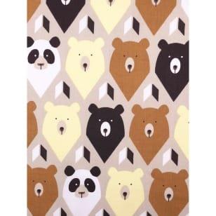 Baumwollstoff Kinderstoff Panda Bär braun Breite 160cm ab 50 cm kaufen