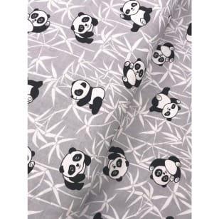 Baumwollstoff Kinderstoff Panda Bär grau Breite 160cm kaufen
