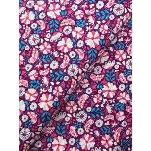Baumwollstoff retro, blau/ pink kaufen