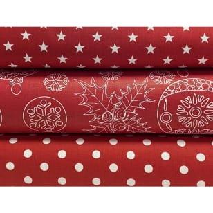 Stoffpaket Stoffset Baumwolle Dekostoff Weihnachten Kugeln kaufen