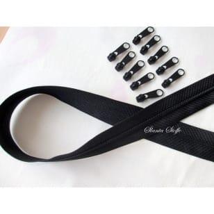 Endlos Reißverschluss schwarz, Set 2m + 10 Zipper kaufen