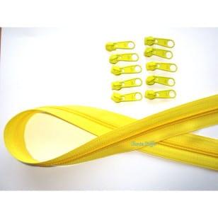 Endlos Reißverschluss gelb, Set 2m + 6 Zipper kaufen