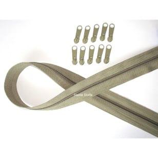 Endlos Reißverschluss hellolive. Set 2m + 10 Zipper kaufen