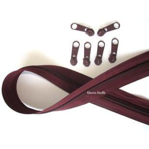 Endlos Reißverschluss bordeaux, Set 2m + 6 Zipper kaufen
