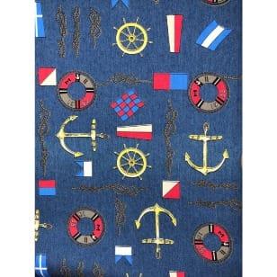 Jeans Blusenjeans Stretch maritim Anker blau kaufen