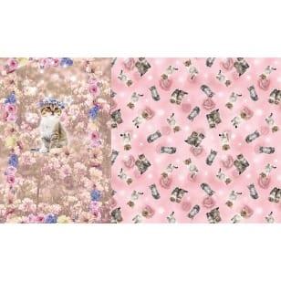 Panel Jersey Stoff Katze Blumen Kinderstoff 1,0 m x 1,50m kaufen