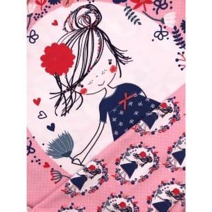 Panel Jersey Stoff Mädchen Blumen rosa Kinderstoff kaufen