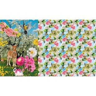 Panel Jersey Stoff Rehlein Tiere Vögel Kinderstoff 1m x 1,50m kaufen