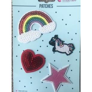 Aufnäher Applikation Regenbogen Herz Patches Set 4 Teile kaufen