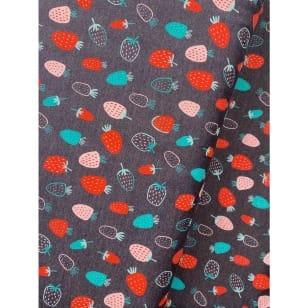 Jersey Stoff Kinderstoff bedruckt Erdbeeren grau Breite 148cm kaufen