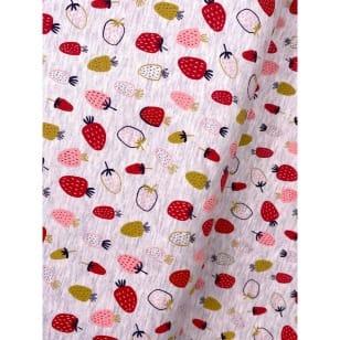 Jersey Stoff Kinderstoff bedruckt Erdbeeren beige Breite 148cm kaufen